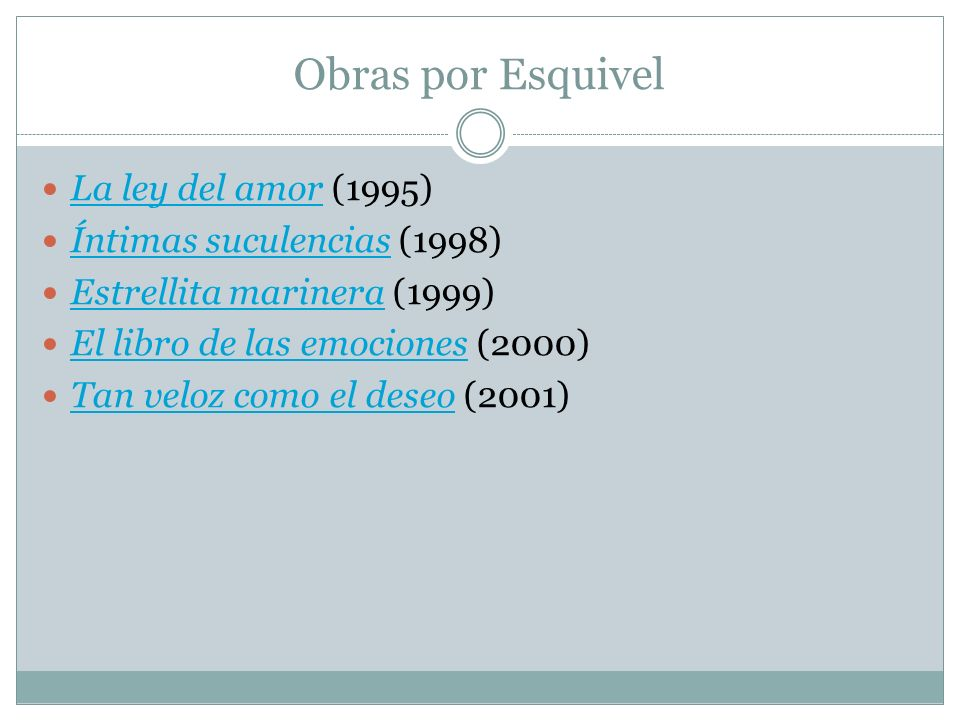 Obras por Esquivel La ley del amor (1995) Íntimas suculencias (1998)