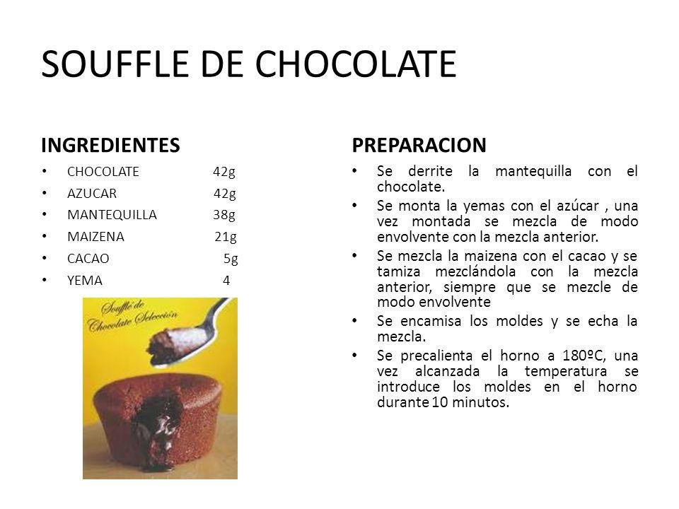 SOUFFLE DE CHOCOLATE INGREDIENTES PREPARACION