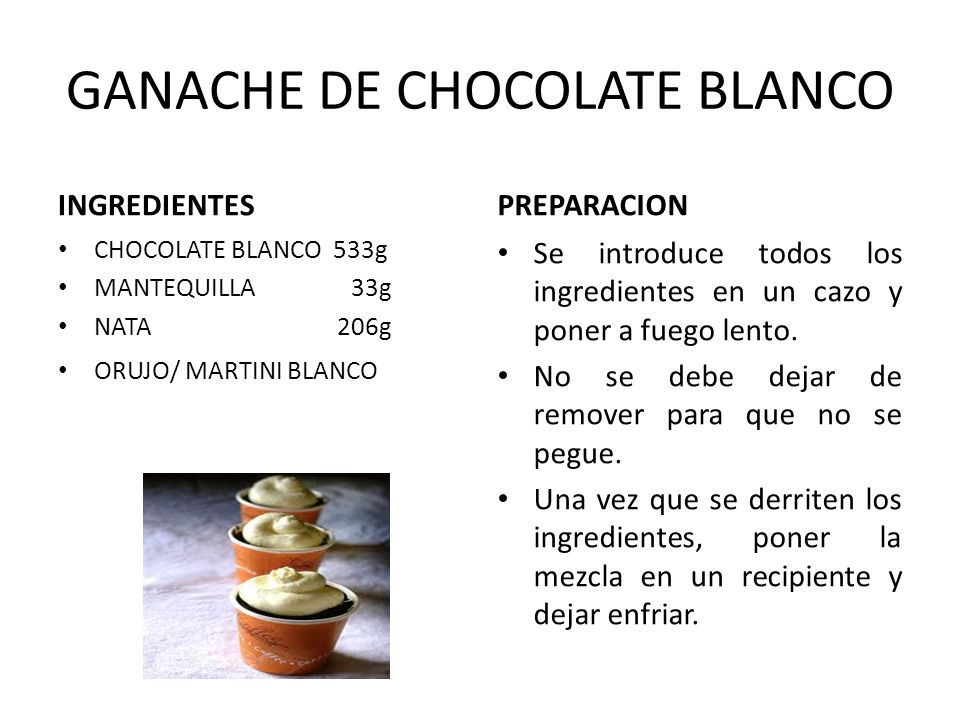 GANACHE DE CHOCOLATE BLANCO
