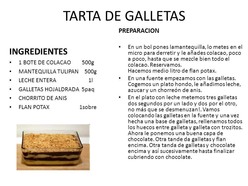 TARTA DE GALLETAS INGREDIENTES PREPARACION