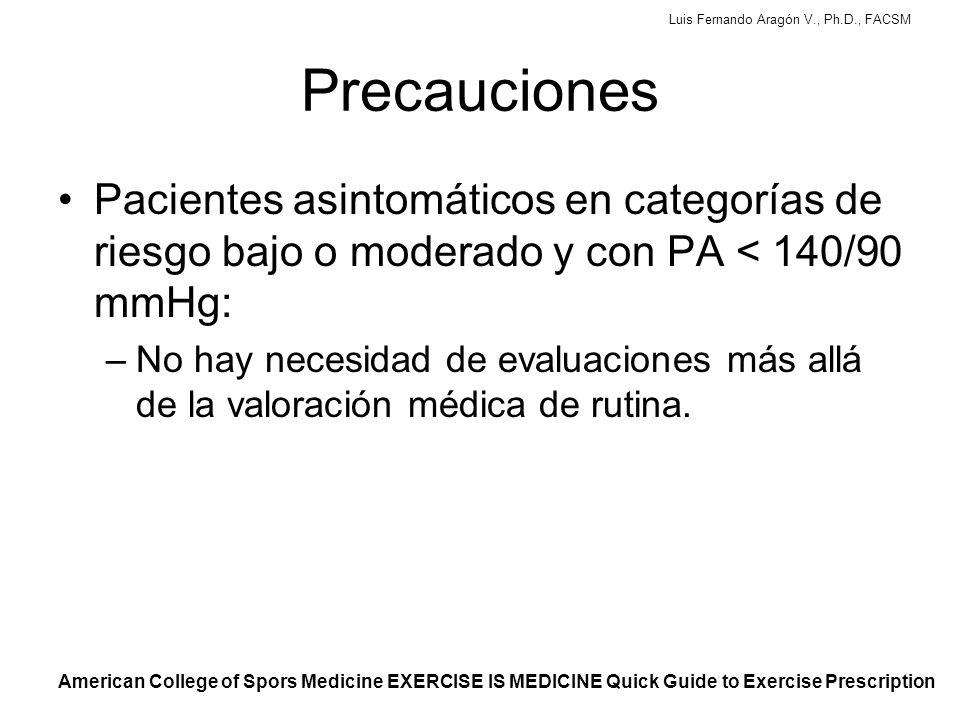 Precauciones Pacientes asintomáticos en categorías de riesgo bajo o moderado y con PA < 140/90 mmHg: