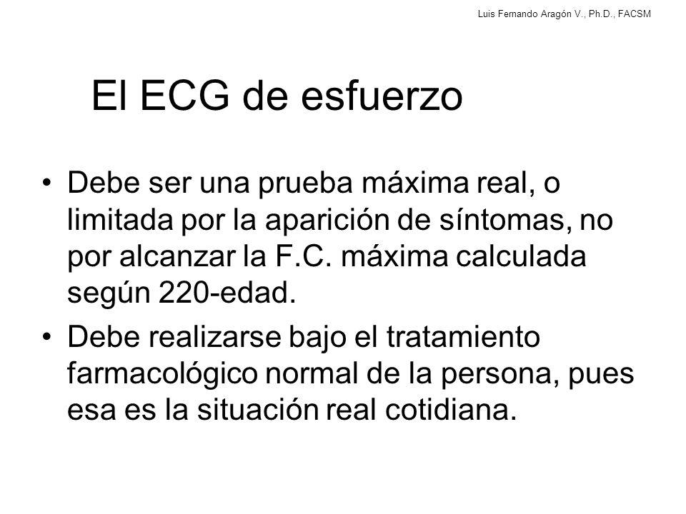 El ECG de esfuerzo Debe ser una prueba máxima real, o limitada por la aparición de síntomas, no por alcanzar la F.C. máxima calculada según 220-edad.