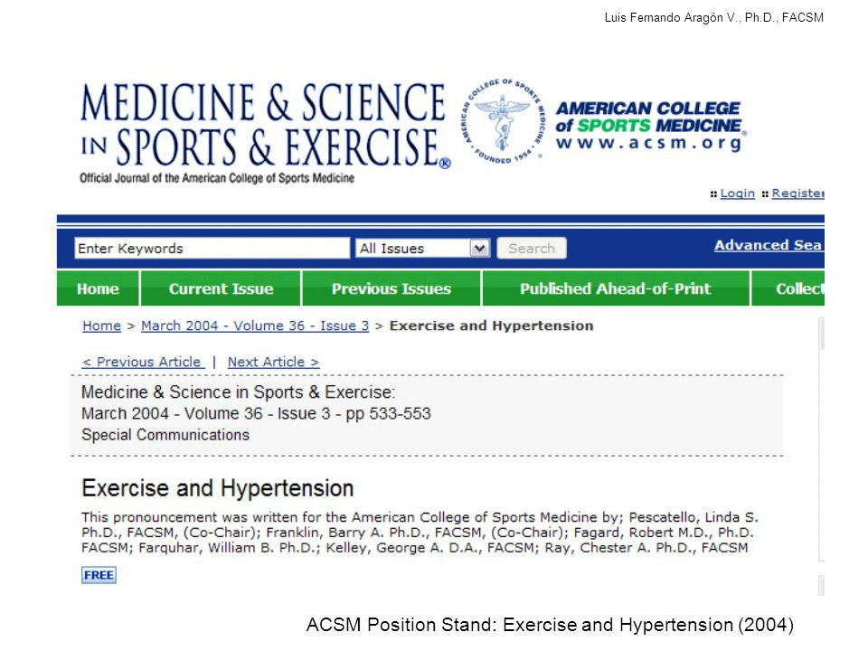 ACSM Position Stand: Exercise and Hypertension (2004)