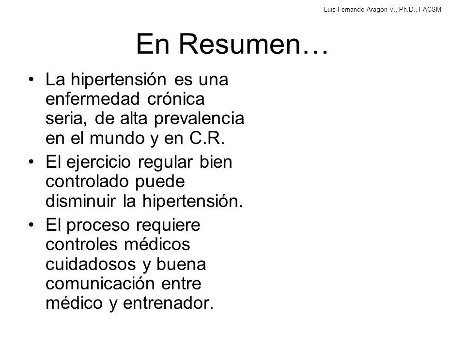 En Resumen… La hipertensión es una enfermedad crónica seria, de alta prevalencia en el mundo y en C.R.
