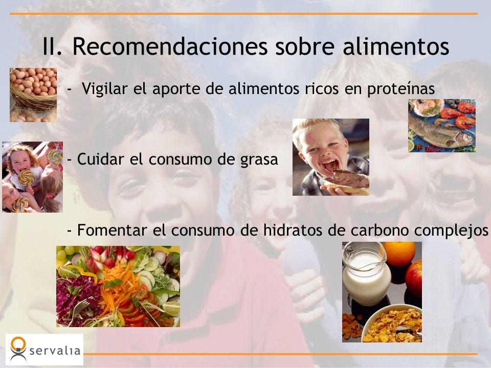 II. Recomendaciones sobre alimentos