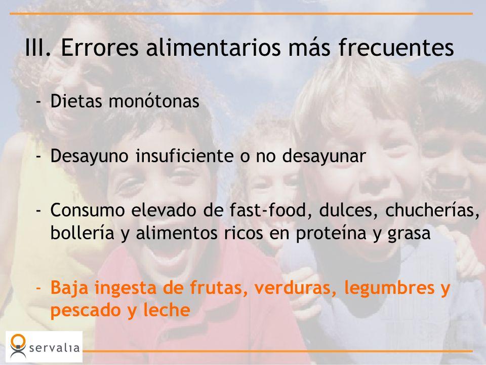 III. Errores alimentarios más frecuentes