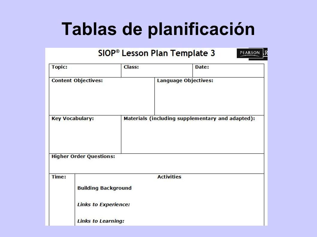 Tablas de planificación