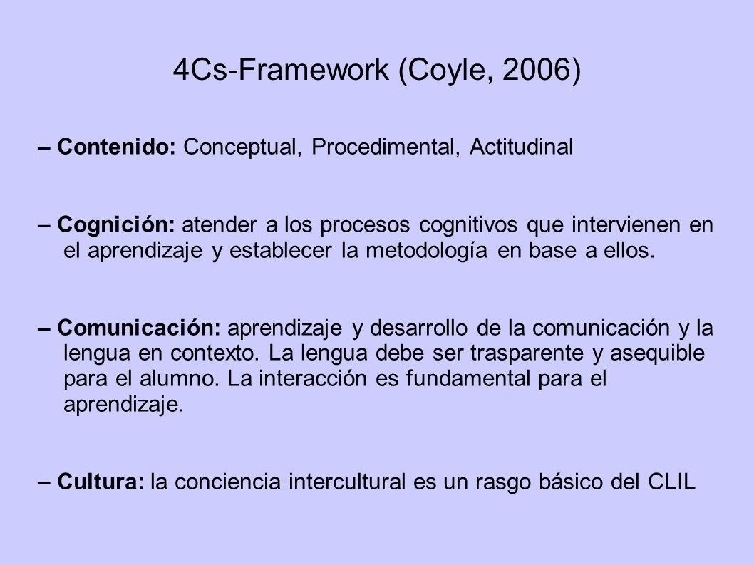 4Cs-Framework (Coyle, 2006)– Contenido: Conceptual, Procedimental, Actitudinal.