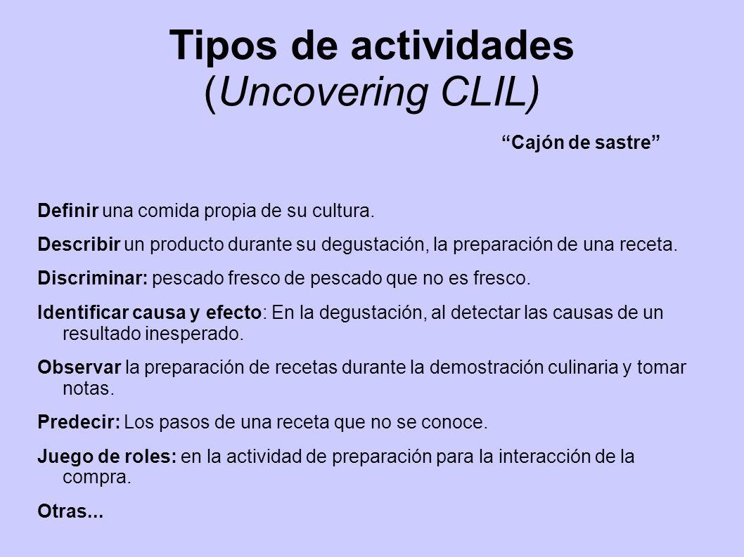 Tipos de actividades (Uncovering CLIL)