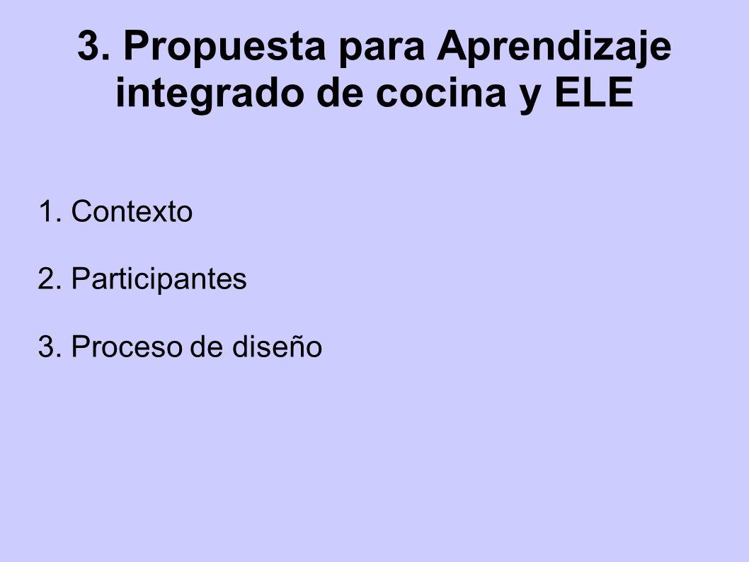 3. Propuesta para Aprendizaje integrado de cocina y ELE