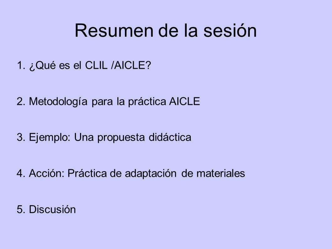 Resumen de la sesión 1. ¿Qué es el CLIL /AICLE