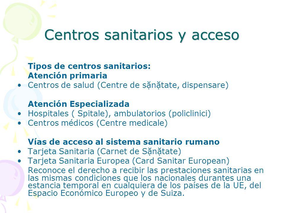 Centros sanitarios y acceso