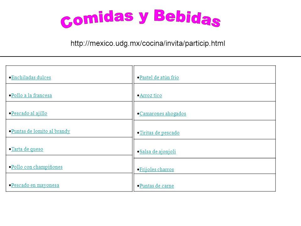 Comidas y Bebidas http://mexico.udg.mx/cocina/invita/particip.html