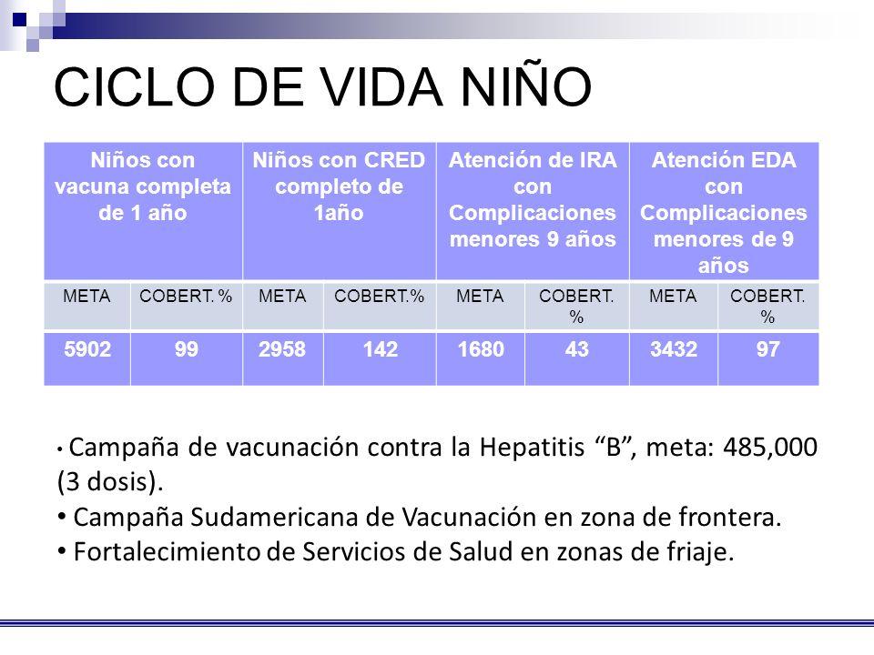CICLO DE VIDA NIÑO Niños con vacuna completa de 1 año. Niños con CRED completo de 1año. Atención de IRA con Complicaciones menores 9 años.