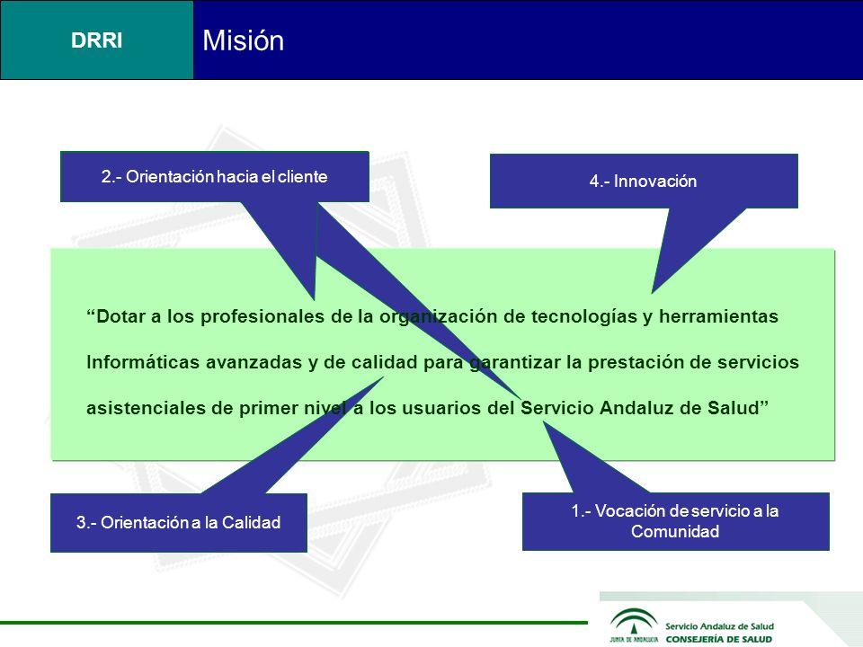 Misión 2.- Orientación hacia el cliente. 4.- Innovación. Dotar a los profesionales de la organización de tecnologías y herramientas.