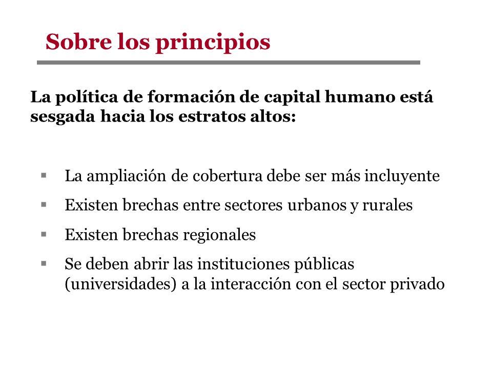 Sobre los principios La política de formación de capital humano está sesgada hacia los estratos altos: