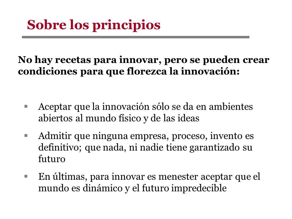 Sobre los principios No hay recetas para innovar, pero se pueden crear condiciones para que florezca la innovación: