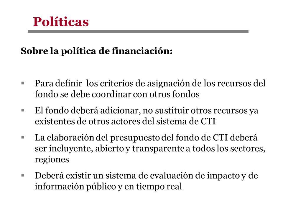 Políticas Sobre la política de financiación: