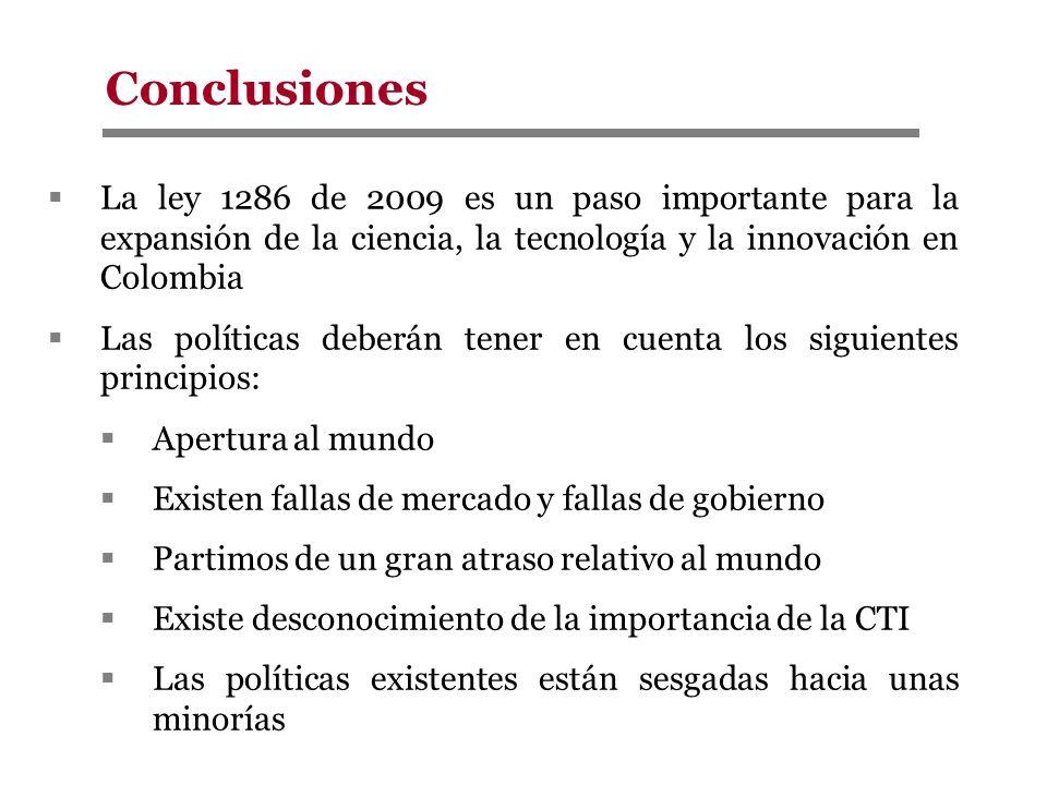 Conclusiones La ley 1286 de 2009 es un paso importante para la expansión de la ciencia, la tecnología y la innovación en Colombia.
