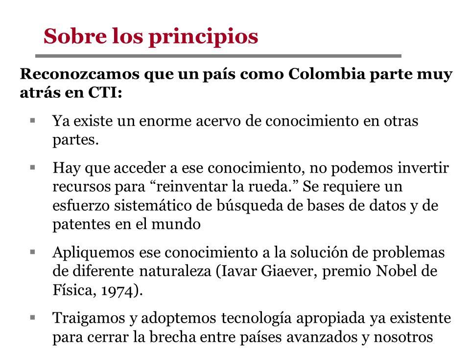 Sobre los principios Reconozcamos que un país como Colombia parte muy atrás en CTI: Ya existe un enorme acervo de conocimiento en otras partes.