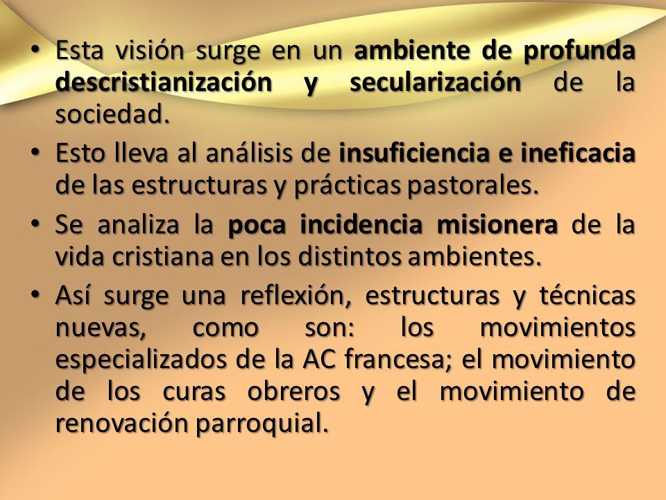 Esta visión surge en un ambiente de profunda descristianización y secularización de la sociedad.
