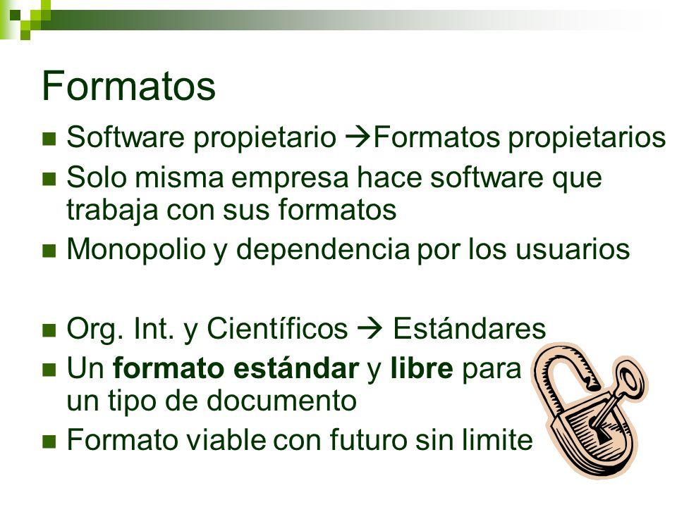 Formatos Software propietario Formatos propietarios