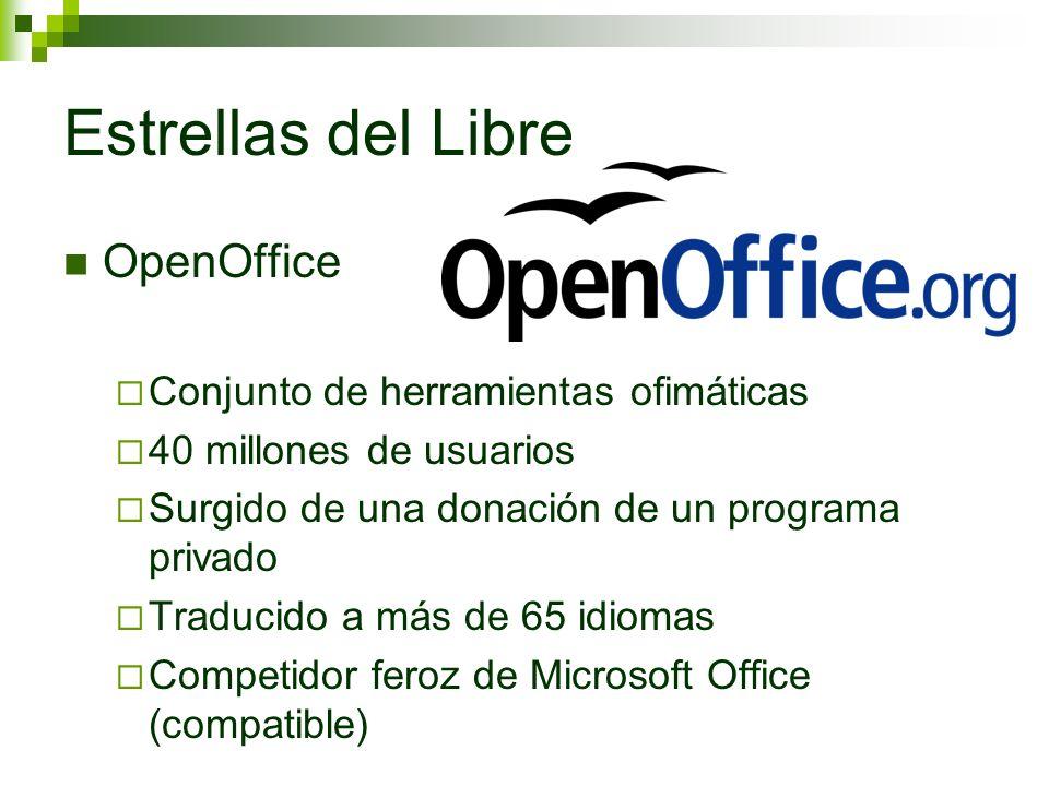 Estrellas del Libre OpenOffice Conjunto de herramientas ofimáticas