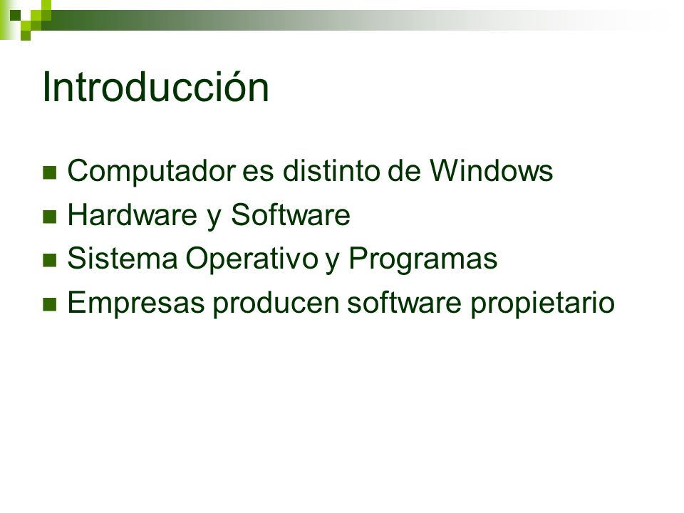Introducción Computador es distinto de Windows Hardware y Software