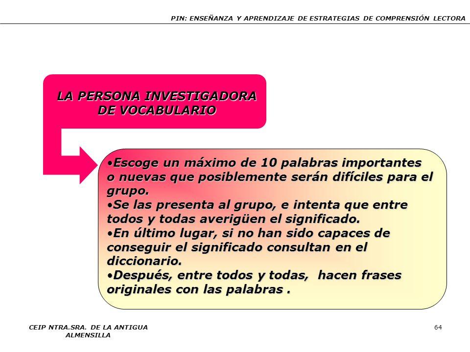 LA PERSONA INVESTIGADORA DE VOCABULARIO