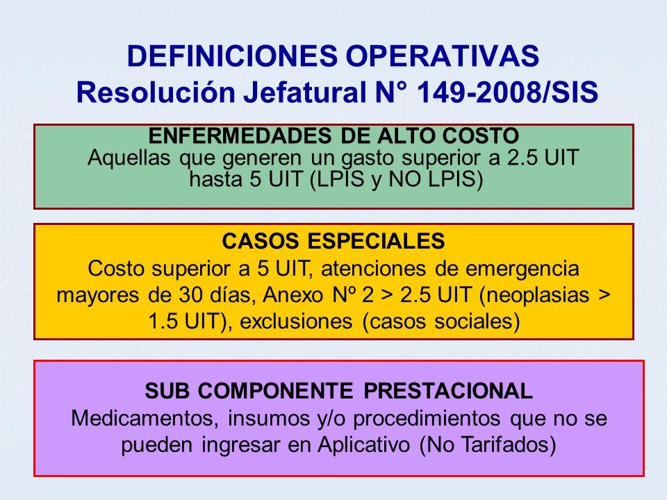 DEFINICIONES OPERATIVAS Resolución Jefatural N° 149-2008/SIS