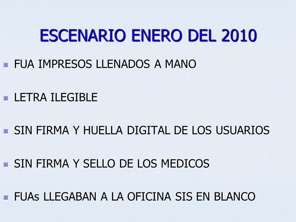 ESCENARIO ENERO DEL 2010 FUA IMPRESOS LLENADOS A MANO LETRA ILEGIBLE