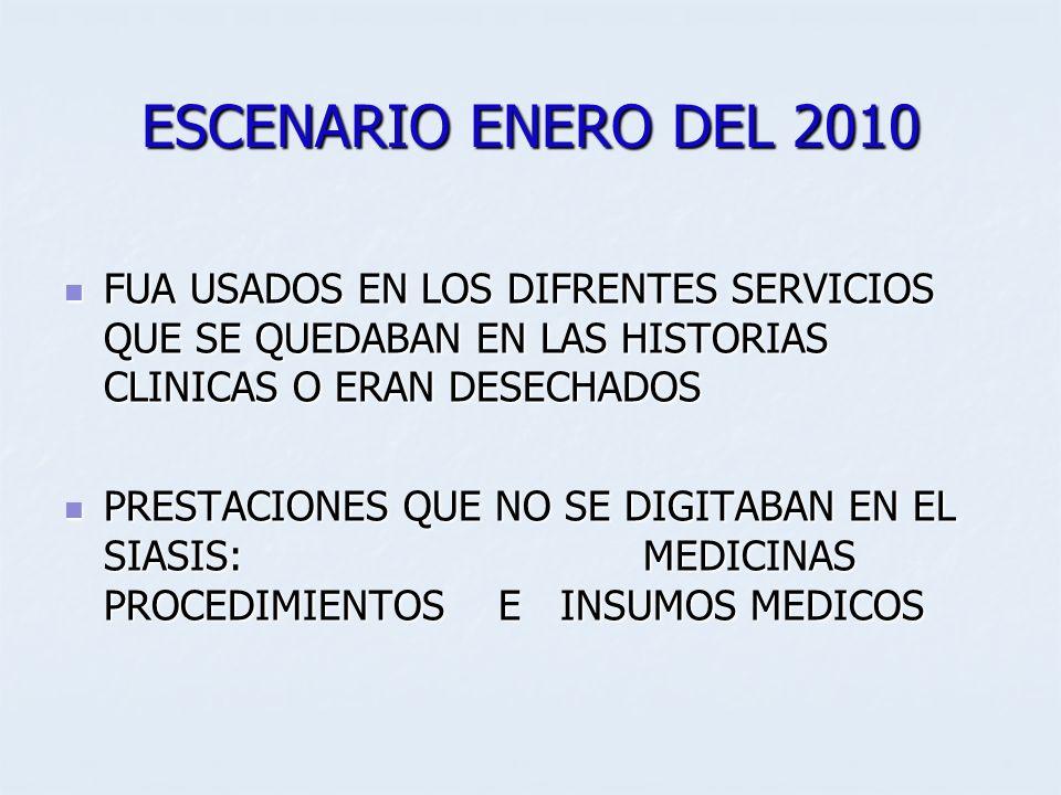 ESCENARIO ENERO DEL 2010 FUA USADOS EN LOS DIFRENTES SERVICIOS QUE SE QUEDABAN EN LAS HISTORIAS CLINICAS O ERAN DESECHADOS.