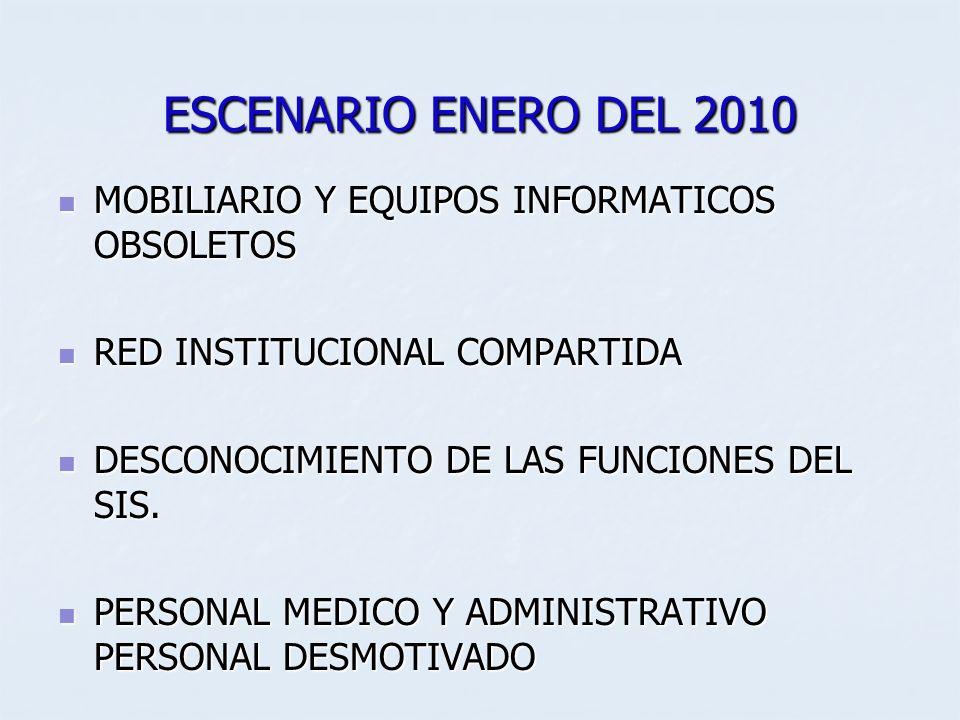 ESCENARIO ENERO DEL 2010 MOBILIARIO Y EQUIPOS INFORMATICOS OBSOLETOS