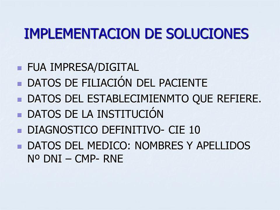 IMPLEMENTACION DE SOLUCIONES