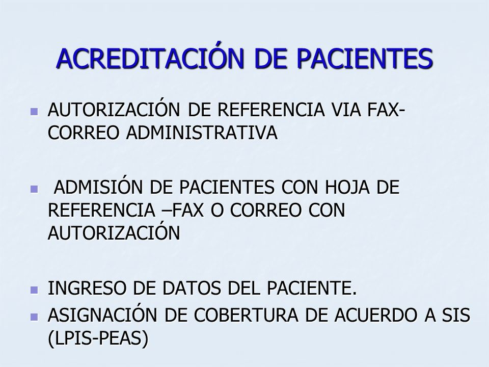ACREDITACIÓN DE PACIENTES