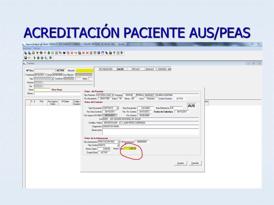 ACREDITACIÓN PACIENTE AUS/PEAS