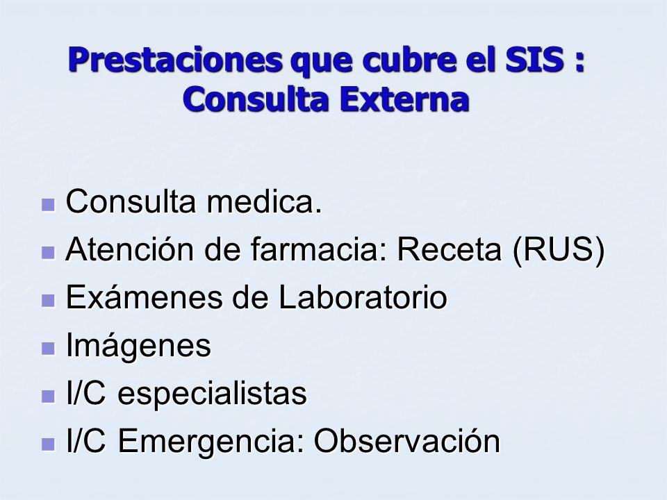 Prestaciones que cubre el SIS : Consulta Externa