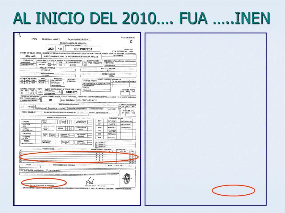 AL INICIO DEL 2010…. FUA …..INEN