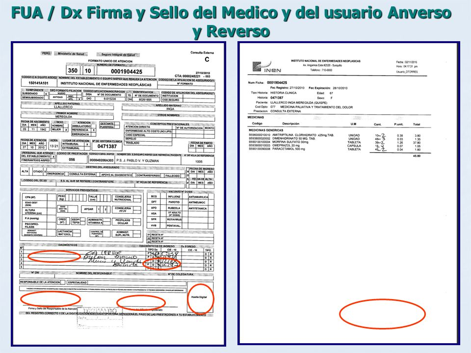 FUA / Dx Firma y Sello del Medico y del usuario Anverso y Reverso
