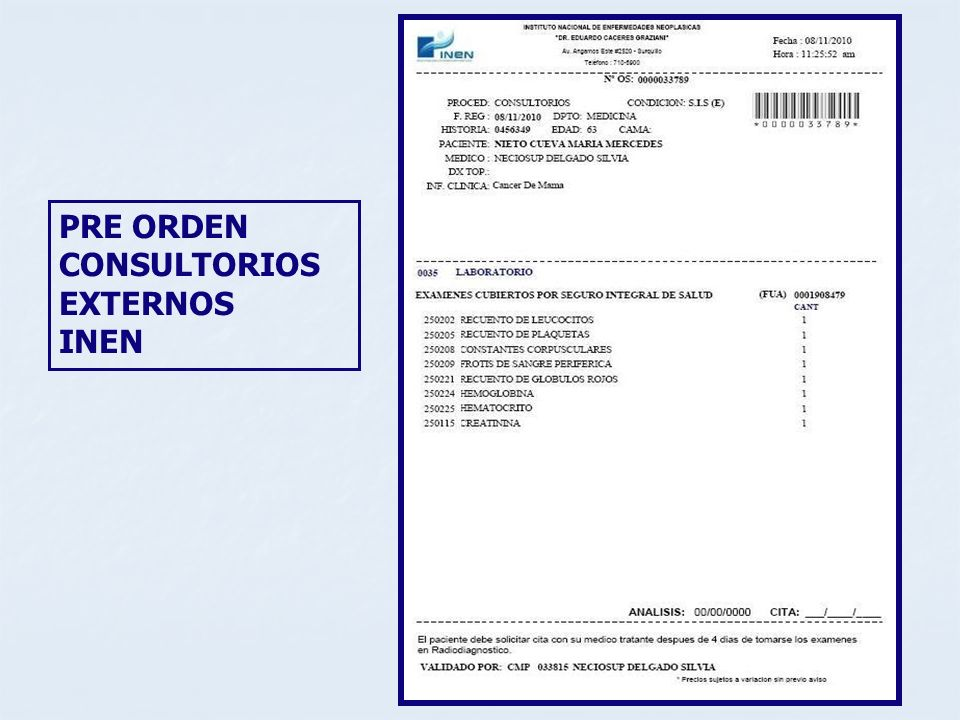 PRE ORDEN CONSULTORIOS EXTERNOS INEN