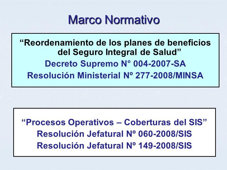 Marco Normativo Reordenamiento de los planes de beneficios del Seguro Integral de Salud Decreto Supremo N° 004-2007-SA.