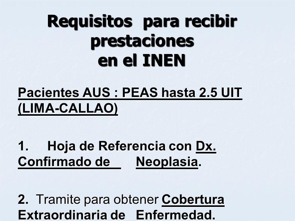Requisitos para recibir prestaciones en el INEN