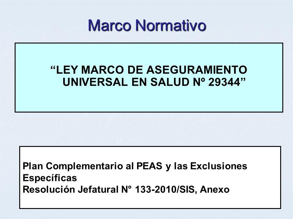 LEY MARCO DE ASEGURAMIENTO UNIVERSAL EN SALUD Nº 29344