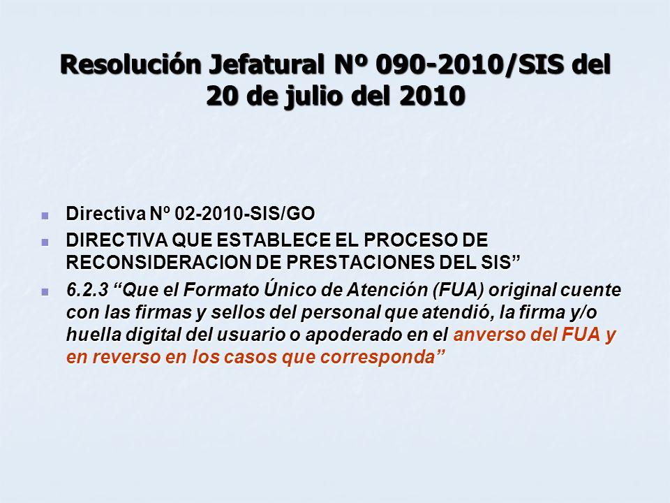 Resolución Jefatural Nº 090-2010/SIS del 20 de julio del 2010
