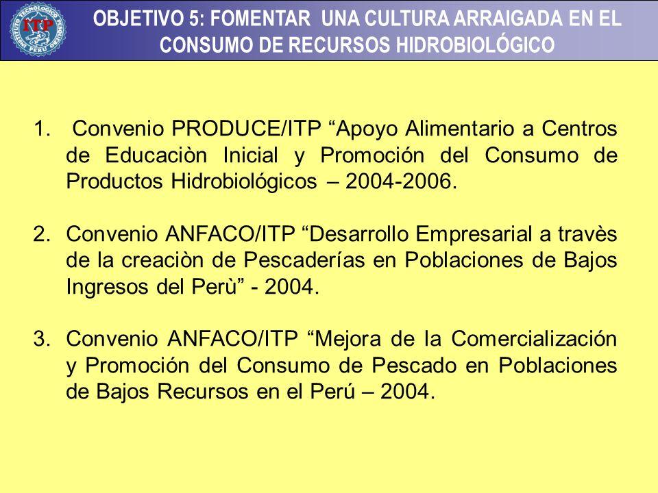 Convenio PRODUCE/ITP Apoyo Alimentario a Centros de Educaciòn Inicial y Promoción del Consumo de Productos Hidrobiológicos – 2004-2006.