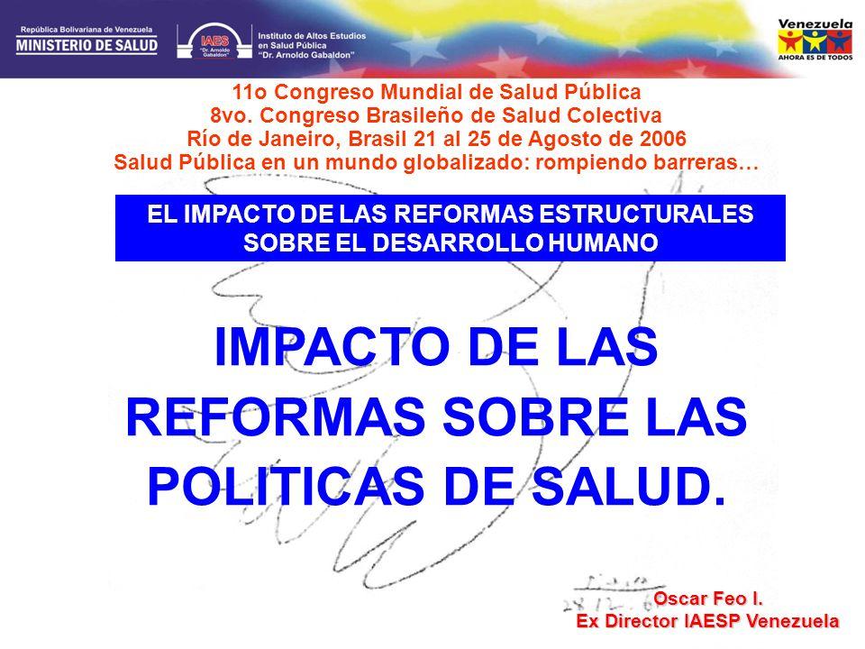 IMPACTO DE LAS REFORMAS SOBRE LAS POLITICAS DE SALUD.