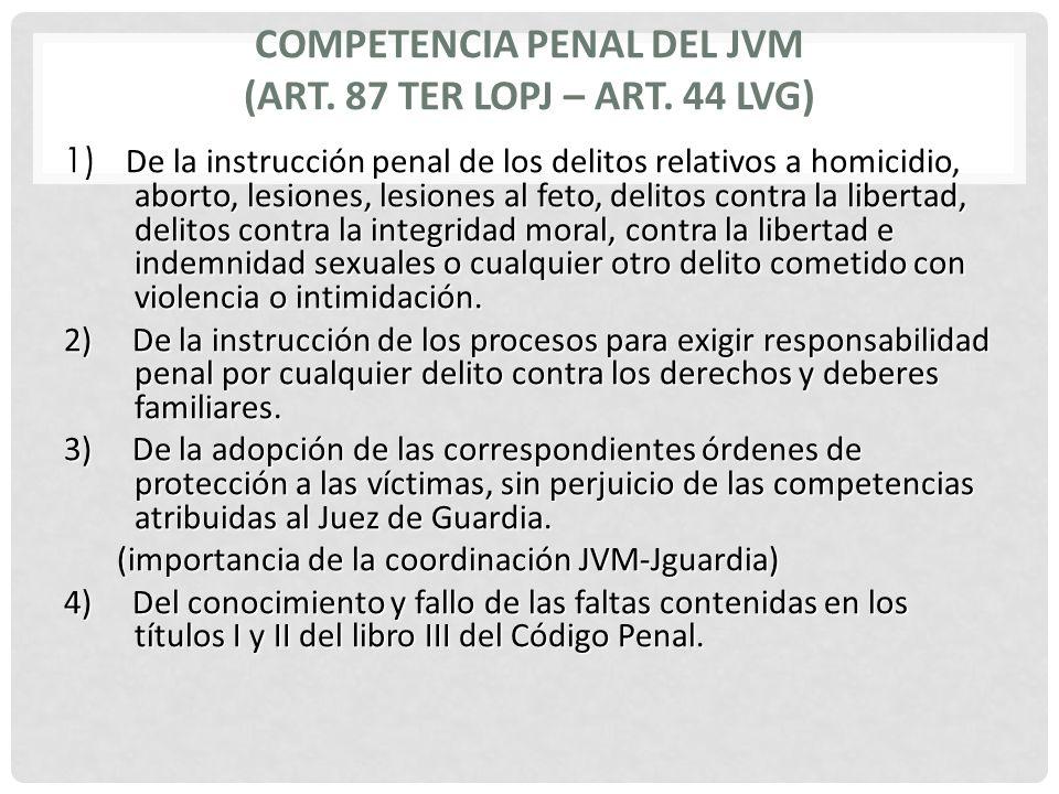 COMPETENCIA PENAL DEL JVM (Art. 87 TER LOPJ – Art. 44 LVG)