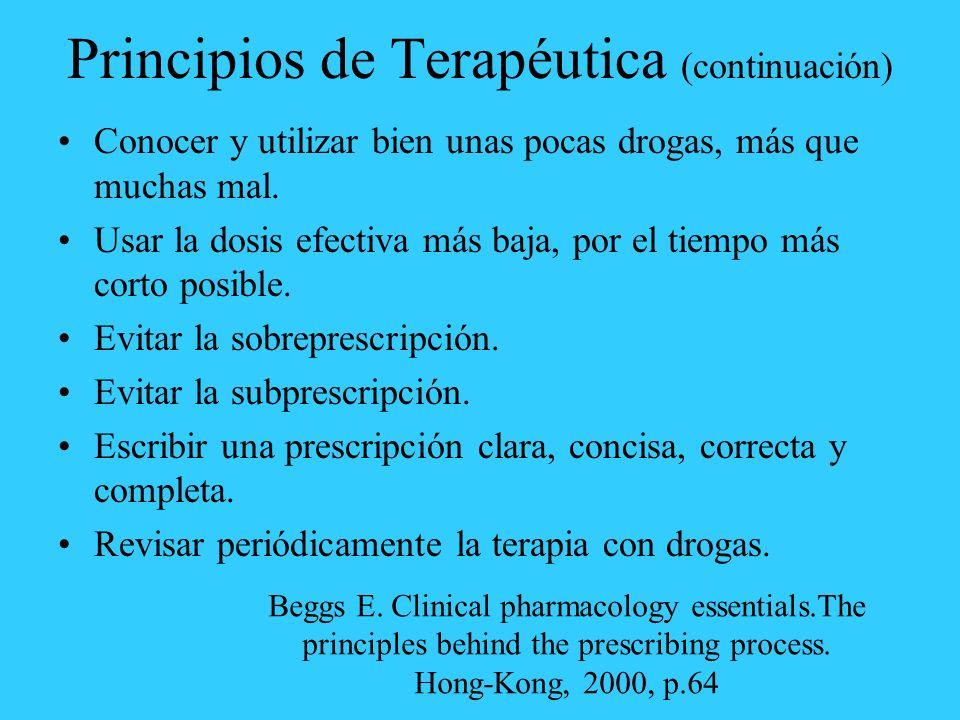 Principios de Terapéutica (continuación)