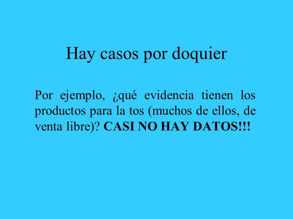 Hay casos por doquier Por ejemplo, ¿qué evidencia tienen los productos para la tos (muchos de ellos, de venta libre).