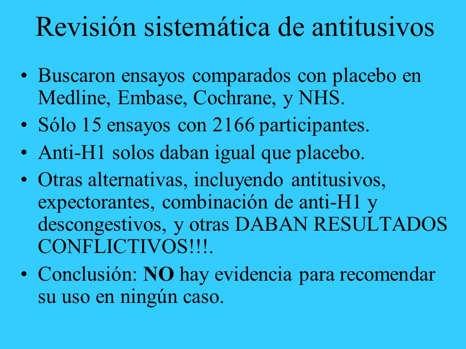 Revisión sistemática de antitusivos